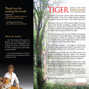 Tiger King of the Golden Jungle Book  Back Cover